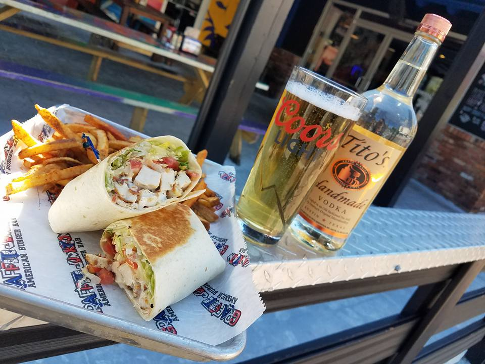 A Chicken Wrap With Beer and Tito's